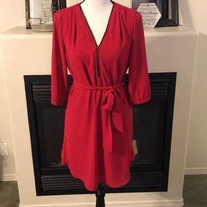Size S - iZ Byer Berry Front Zip 3/4 Sleeve Dress